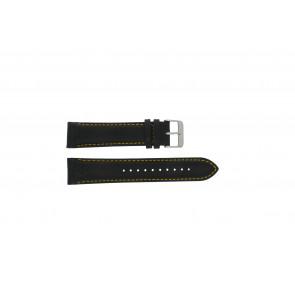 Pulsar Uhrenarmband VK63-X001 / PP077X Leder Schwarz 22mm + gelben nähte