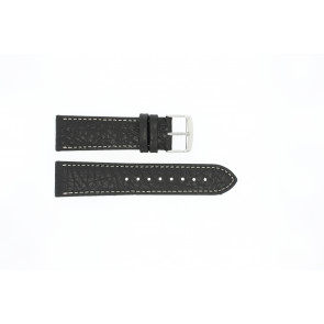 Uhrenarmband 307.01 Leder Schwarz 20mm + weiße nähte