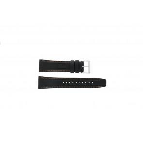 Seiko Uhrenarmband 7T62-0HL0 / SNAB59P1 / SNAB59JC / SNAB59J1 Leder Schwarz 24mm + orange nähte