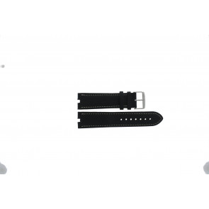 Tommy Hilfiger Uhrenarmband TH-38-1-14-0686 ALT 307.01 Leder Schwarz 24mm + weiße nähte