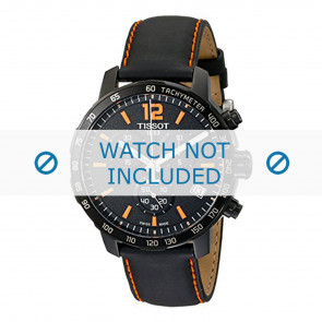 Tissot Uhrenarmband T095.417.360.570.0 - T600035367 / T095.417.A Leder Schwarz 19mm + orange nähte