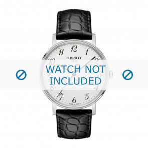 Tissot Uhrenarmband T109.410.16.032.00 - T600039639 Kroko leder Schwarz 19mm + schwarzen nähte