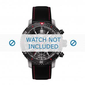 Tissot Uhrenarmband T067.417.260.5100 T067417A - T610031781 Leder Schwarz 19mm + roten nähte