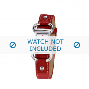 Tommy Hilfiger Uhrenarmband TH-09-3-14-0613 / TH679300818 / TH1780621 Leder Rot + roten nähte