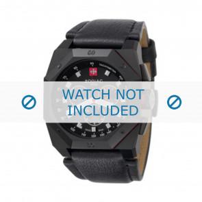 Zodiac Uhrenarmband ZO1800 Leder Schwarz + schwarzen nähte